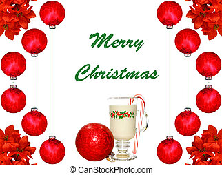 A Christmas design of a glass of eggnog and a candy cane with holly leaves and  red Christmas balls on white.