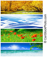 Four seasons collage, panoramic images of beautiful natural...