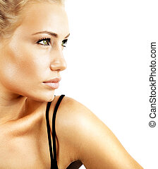 Beautiful female face, sexy model closeup portrait isolated...