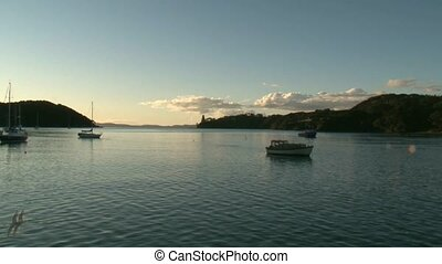 Sunset Mangonui entrance - Sunset over Monganui Harbour to...