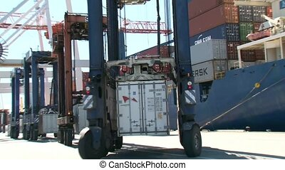 Containers waiting to be loaded to ship