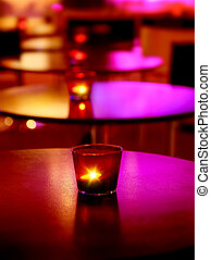 Romantic interior of a luxury restaurant with warm cozy...
