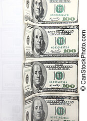 One hundred dollar banknotes - Dollars against white...