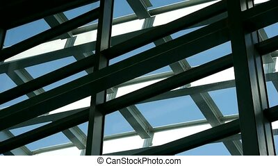 Roof of luxury mall glass house,Geometry,composition,monitor...