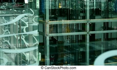 Elevator in Luxury mall glass house