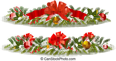 Two holiday christmas garlands.