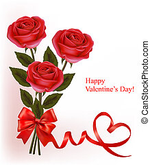 Valentine`s day background Red roses and gift red bow Vector...