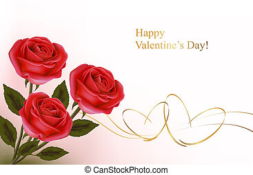 Valentine`s day background. Red roses and gift red bow....