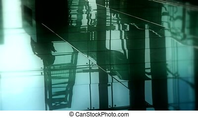 Person's shadow,Figure reflection on marble floor at Luxury...