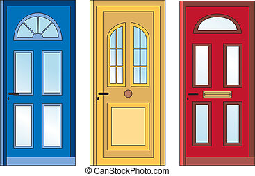 Red yellow blue doors - front door in three colors