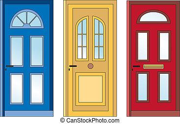 Red yellow blue doors - front door in three colors