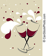 glass with red wine, romantic hearts - holiday vector...