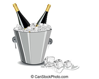 vector illustration with champange bottle,ice cube bucket -...