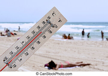 Heat Wave High Temperatures - A temperature scale on a beach...