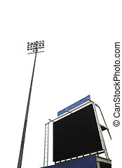 scoreboard in a stadium with a tall floodlight, isolated on...