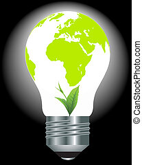 light bulb with a globe and a green plant
