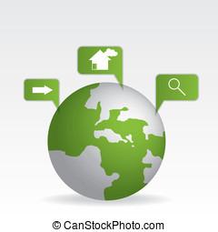 Globe map green
