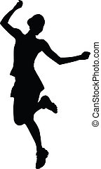 Happy girl silhouette. - Silhouette of a young cheerful girl...