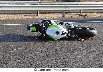 motocicleta, bicicleta, estrada, acidente