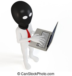 3d man hacker with laptop