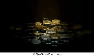 Coin Fall in golden dark space,group of RMB coins and rays...