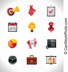 Vector business icon set - Set of the detailed business...