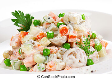 Vegetable salad with green peas and herbs