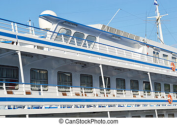 Fragment of river cruise ship - St.Petersburg, Russia - May...