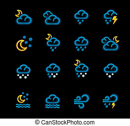 Vector weather forecast icons. P.2 - Set of the night...