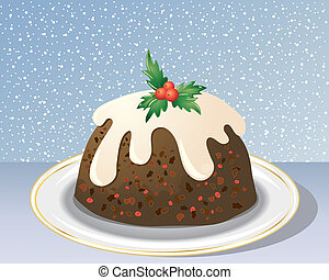 decorative christmas pudding - an illustration of a...