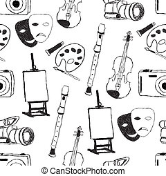 doodle art seamless pattern