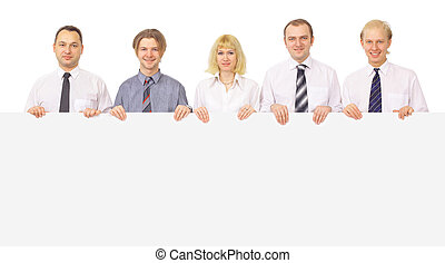 group of business people holding a