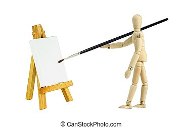 Wooden mannequin with easel