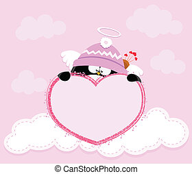 Cupid penguin Holding Heart - cute valentine card