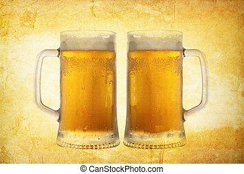 cold beer on vintage background