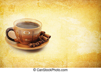 coffe on vintage background with cinnamon