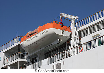 Lifeboat on a davit at a modern ferry ship