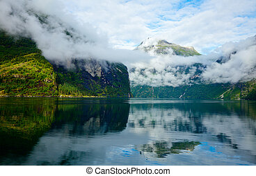 Geirangerfjord - Cloudy morning in Geirangerfjord, Norway...
