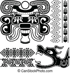 Mayan ornaments with dragon