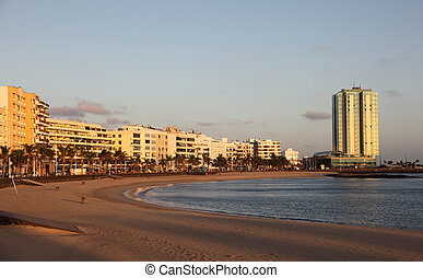 Beach of Arrecife, Canary Island Lanzarote, Spain