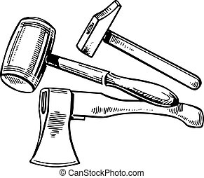 Tools - Hammer, axe and mallet on white background