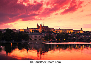 Prague, Czech Republic - Prague Castle at Sunset