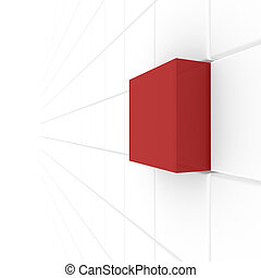 series of white cubes, one red computer Simulation