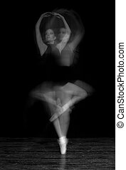 Black and White Intentional Blur of Ballerina Spinning
