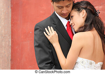 Young Wedding Couple Outdoors - Asian American Wedding...