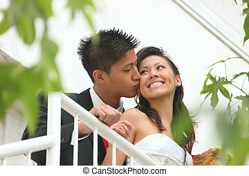 Young Wedding Couple Outdoors