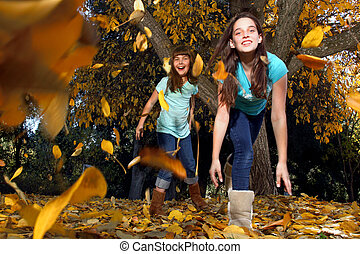 Children in an Autumn Forest in the Fall - Children Playing...