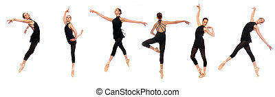 Ballet En Pointe Poses in Studio - Multiple Ballet En Pointe...