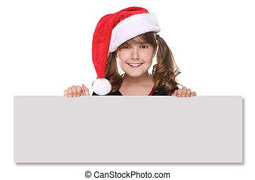 Isolated Christmas Child Holding SIgn on White
