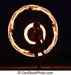 Fire Dance on the Beach at Night - Beautiful Fire Dance on...